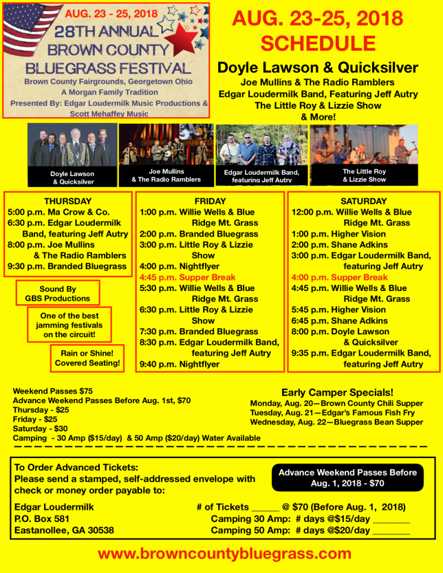 Brown County Bluegrass SCHEDULE Flyer 2018 PNG YELLOW