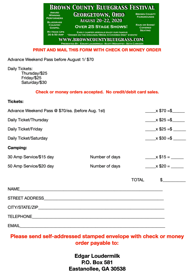 Brown County Ticket Order Form PNG