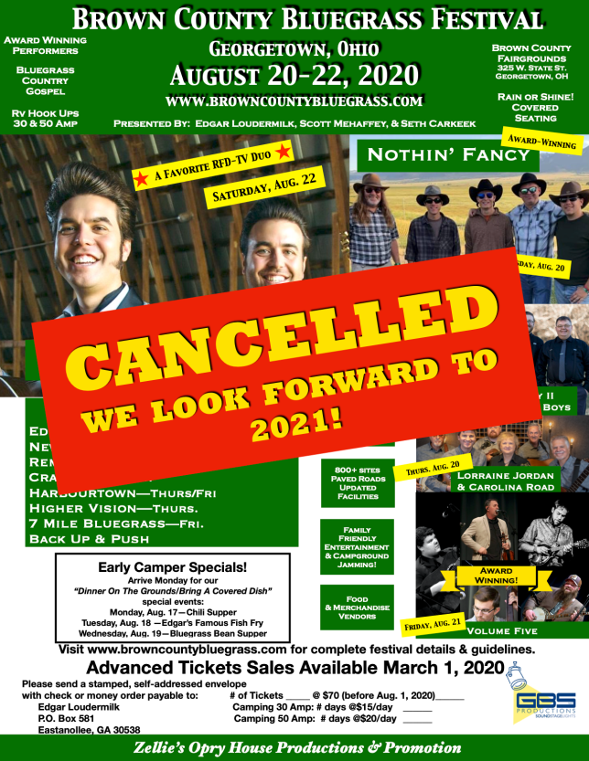 Brown County Bluegrass Festival 2020 Zellie's Ad CANCELLED PNG